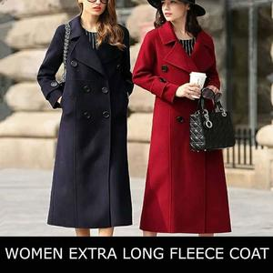 Daraz Select 2018 Fleece Coat Women's Long Coat Winter Fleece Blends Coat Runway Fashion Red Black Thick Warm Fleece Jackets high quality