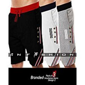 AN FashionPack Of 3 - Strip Button Design Shorts For Men