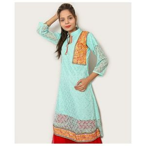 Sky Blue Luxury Net Embroidered Kurti For Women