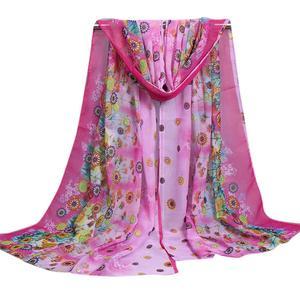 MissFortune Women Ladies Large Flowers Pattern Print Chiffon Scarf Warm Wrap Shawl