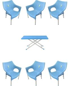 (Boss) Set Of 6 Rattan Plastic Chairs And Plastic Table - Blue