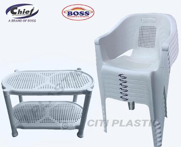 Chief (Boss) Set Of 6 Plastic Chairs And Plastic Table - White