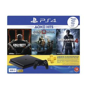 PS4 HITS Bundle 500GB + God Of War 4, COD Black Ops III & Uncharted 4 + 3 Months PSN Plus