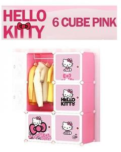 6 Cubes Kitty Storage Cabinet & Wardrobe For Kids With Hanging Rod