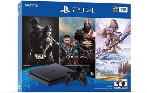 PlayStation 4 Slim 1TB Console 3 Game Bundle God of Waar, Last Of Us Remastered, Horizon Zero Dawn Complete Edition