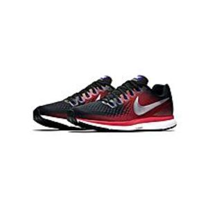 NikeBlack Mens Running Air Zoom Pegasus 34 - Black & Metallic Silver-Bright Crimson