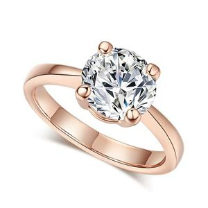 Cubic Zirconia Rose Gold Color Wedding Rings
