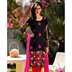 ESSEMM CollectionsBourbon  Roses -  Black  Cotton  Khadi - 3  Piece  Suit