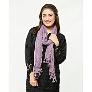 Barcode CollectionsPurple Poly Cotton Scarf For Women