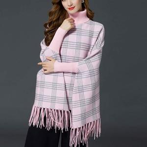 Stylish Winter Checkered Ponchu For Her- Pink
