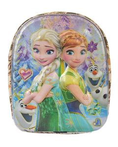 Asaan Parhai Frozen Embossed School Bag for Girls (2 Compartments with Bottle Holder) - Beige (14 Inch Height, 11 Inch Width)