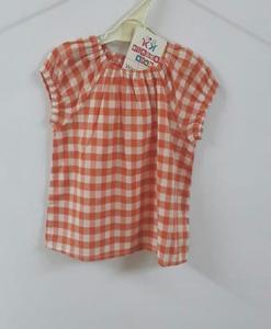 Orange Check Girls T-Shirt Cotton