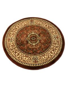 Round Rug - Synthetic - 3X3 - Brown Ivory