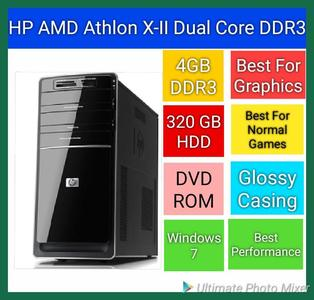HP AMD Athlon II Dual Core with 4GB DDR3 RAM, 320 GB Sata HDD, DVD ROM (Best Performance on Graphics Works and Normal Games)