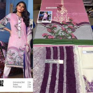 Sana Safinaz Lawn suit with Bamber chiffone dupetta (3pc)