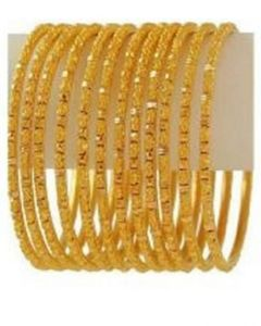 Jewellery Hut Set of 12 - 18K Gold Plated Bangles
