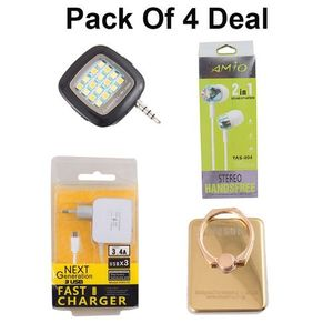 Pack Of 4 - USB Charger+Flash light+Mobile Ring+Amio HandFree