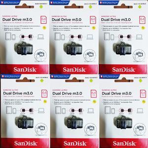 SanDisk Ultra Dual Drive m3.0 / Flash Drive / Sandisk OTG & USB Flash Drive 64 GB WIth 5 Year Brand Warranty Art # Sddd3-064G-G46 (6 Pcs)