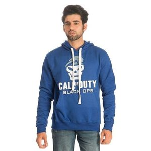 Royal Blue Cotton & Wool Call of Duty Printed Hoodie for Men