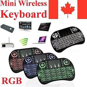 Newest CIBN i8+ Mini Wireless Touch Keyboard Handheld Remote, Touchpad Mouse Combo, 3 Color LED Backlit Remote Control for Android TV Box, PS3 Xbox, Raspberry Pi 3, HTPC,Windows 7,8,10. (N)