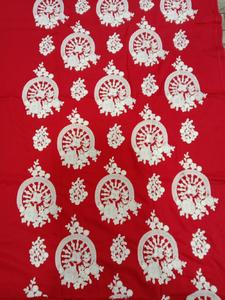 unstitch all over embroidered linen kurti Red with White thread