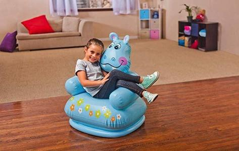 Intex Plastic Inflatable Happy Animal Chair Assortment Children Air Sofa-Blue