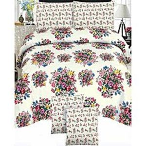 Sana BeddingMulticolor Cotton King Size Bed Sheet With 2 Pillow Covers - 3Pcs