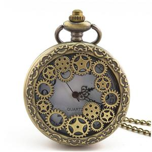 TE Gear Hollow Out Vintage Antique Round Dial Quartz Pocket Watch Necklace Clock
