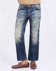 Distressed Blue Faded Denim Jeans Whiskers On Both Side