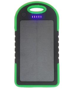 Water Resistant Solar Power Bank Charger 5000 mAh- Green