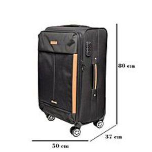 ZappleToro Spinner 4 Wheels Soft Trolley Suitcase - Black 80 Cm
