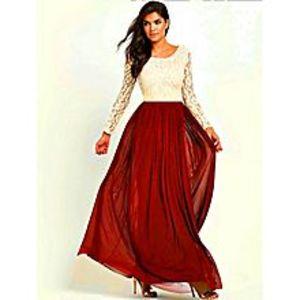 Daraz FashionCream Lace Top Maxi Dress with Red Chiffon Skirt