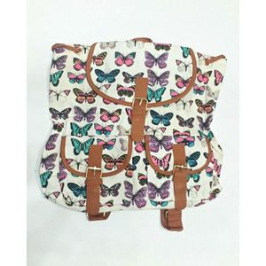 White Butterfly College Bag For Girls