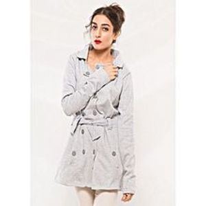 Abdul Collection Hazel Grey Fleece Style Long Coat For Women