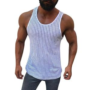 Men Fitness Muscle Striped Print Sleeveless Bodybuilding Tight-drying Vest Tops