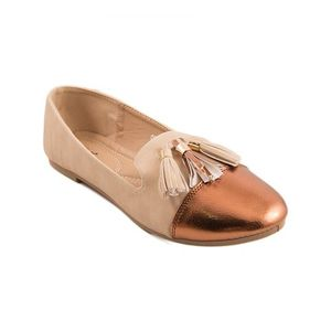 Beige Artificial Leather Womens Pumps 060-514