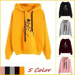 Women Hooded Sweater Causal Printed Heart Long Sleeve Solid Color Hooded Hoodie Finger Heart Hoodie Pullover Tops Hoodies Coat