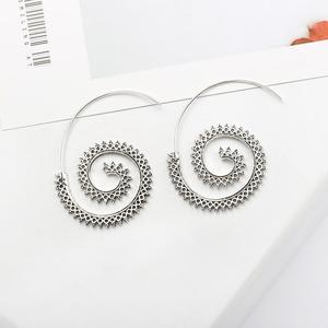 Fashion Vintage Gold Silver Plated Spiral Shape Dangle Earring Charm Unique Women Party Earrings Jewelry Accessories Gifts