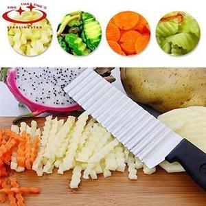 Potato French Fry Cutter Stainless Steel Serrated Blade Easy Slicing Fruits Wave Knife Chopper