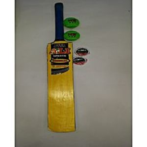 HAPack of 3: ALI Tape Ball Cricket Bat with 2 HS Balls and 2 Osaka White Tapes
