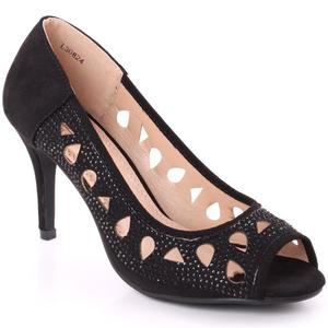 "Women ""Aubrey"" Sequins Embellished Cut Out Design Peep Toe Stiletto Heel Sandals  L30826"