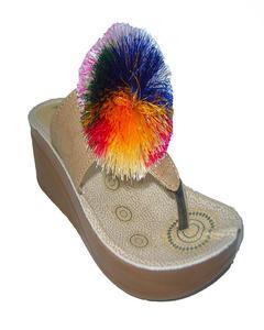 Khaki Rexiene Pu Heel Premium Qualtiy Slipper For Women