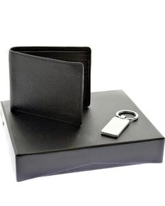 Genuine Cow Leather Wallet & Metal Key Chain Gift Set