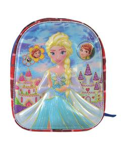 Asaan Parhai Frozen Embossed School Bag for Girls (2 Compartments with Bottle Holder) - Red (14 Inch Height, 11 Inch Width)