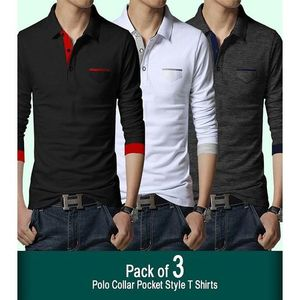 Multicolor Polo Collar Pocket Style T-shirts