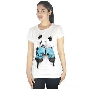 White Panda Printed T-Shirt For Women