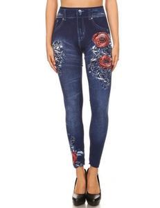 Roses Print Dark Blue Legging/Tights For Women - Jtl-024