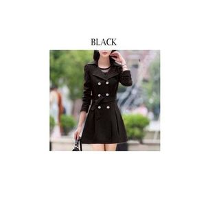 Navy Black Trench Double Button Ladies Coat for Winter