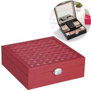Wooden Jewelry Box Necklace Ring Storage Organizer Large Jewel Cabinet Gift Case(Purplish Red)
