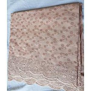 Kashmir ShawlSummer Lawn Shawl - Embroidery Chicken Print - Fawn